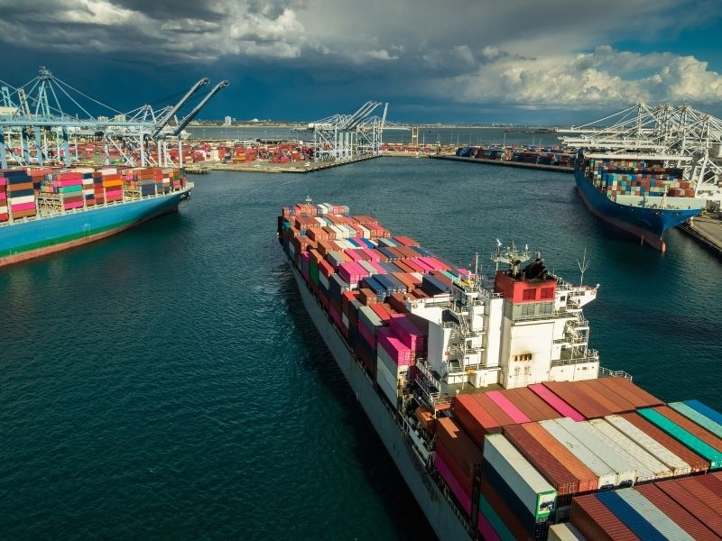 Congestion caused vessel bunching outside of many key ports. Pictured: Vessels berth at the Port of Long Beach