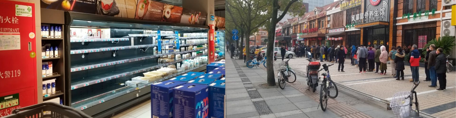 Left: In Shanghai, few stores are open. The shelves are not entirely empty but milk, eggs vegetables and fruit are in high demand and it is these shelves that are often bare. Right: People lined up outside of pharmacies to get face masks as soon as they open.